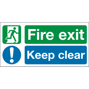 300mm x 150mm Fire exit keep clear sign Image
