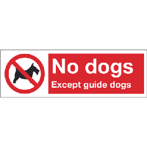 300mm x 100mm No dogs except guide dogs Image