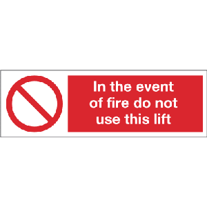 600mm x 200mm In the event of fire do not use lift Image
