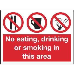400mm x 300mm No Eating drinking or smoking sign Image