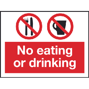 200mm x 150m No eating or drinng signki Image