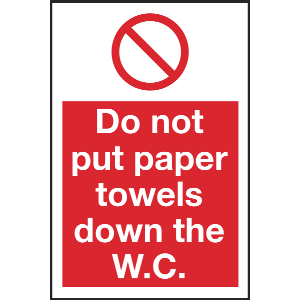 100mm x 150mm Do not put paper towels W.C. etc Image