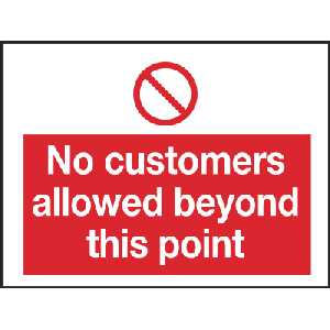 200mm x 100mm No customers allowed beyond Image