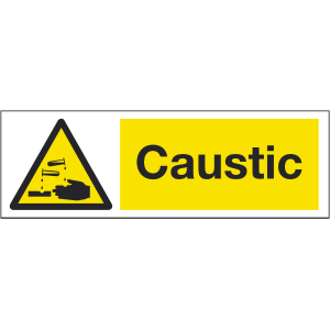 300mm x 100mm Caustic Warning Sign Image