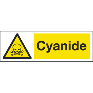 300mm x 100mm Cyanide Warning Sign Image