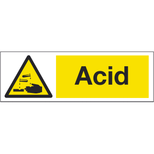 300mm x 100mm Acid Warning Sign Image