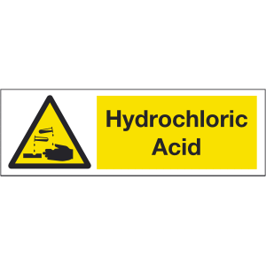 300mm x 100mm Hydrochloric Acid Warning Sign Image