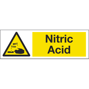 300mm x 100mm Nitric Acid Warning Sign Image