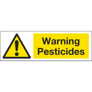 300mm x 100mm Warning Pesticides Sign Image