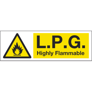 600mm x 200mm LPG Highly Flammable Sign Image