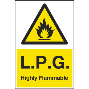200mm x 300mm LPG Highly Flammable Sign Image