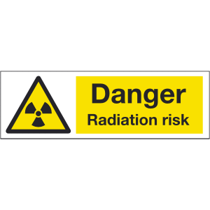 300mm x 100mm Danger radiation risk Sign Image
