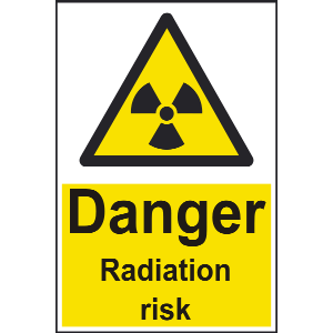 200mm x 300mm Danger Radiation risk Sign Image