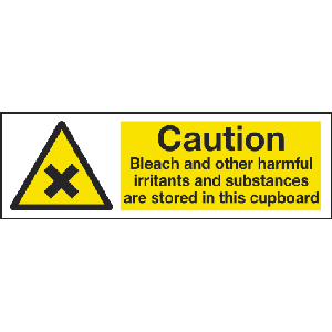 300mm x 100mm Caution Bleach etc. Sign Image